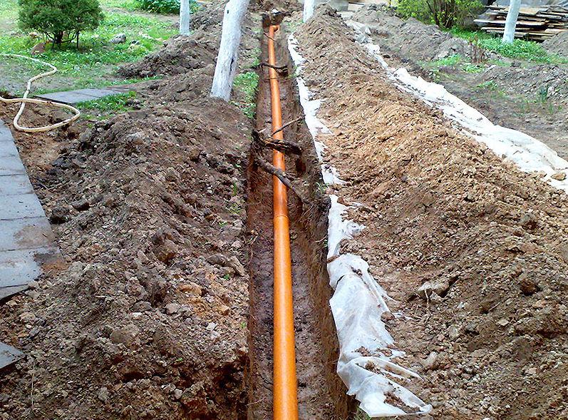 Оранжевая труба в канаве
