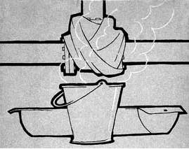 Рисунок с отогревом трубы кипятком