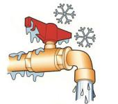 Нарисованный кран с водой , замерзшей на морозе